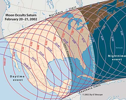 Map of North America showing Saturn occultation timings