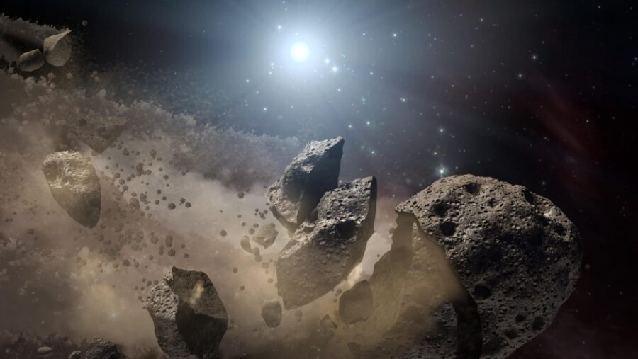 Asteroid breaking apart