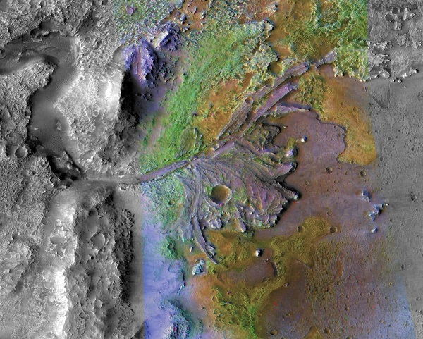 A false color view of Jezero Crater, showing sediments that have undergone alteration due to chemical interaction with water. NASA/JPL-Caltech/MSSS/JHU-APL