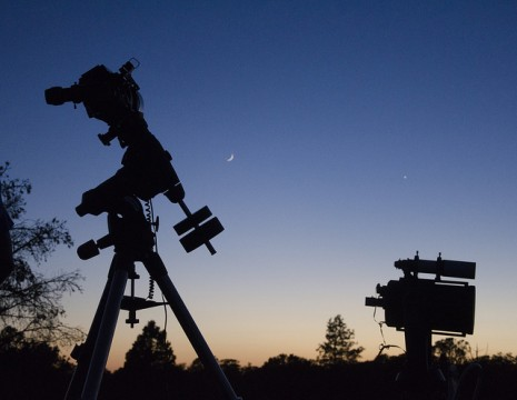 Silhouette of telescopes