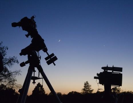 Silhouette of telescopes