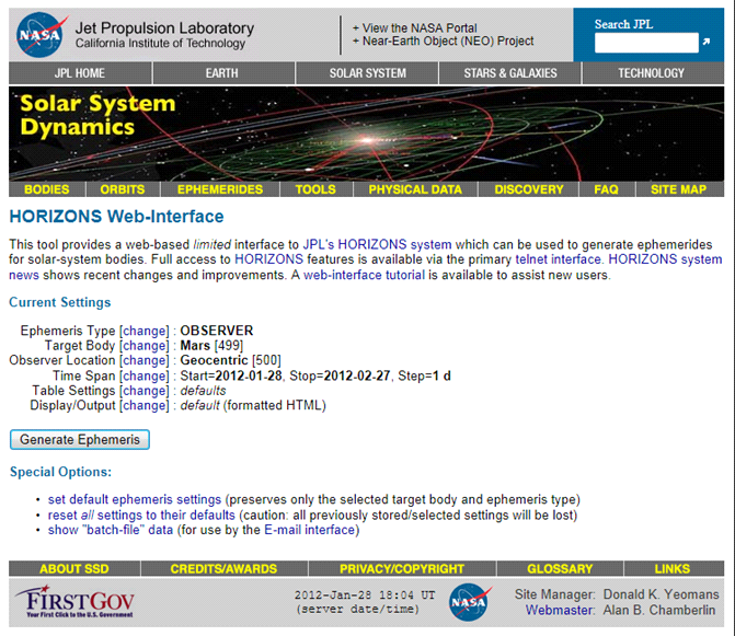Fig. 1. Default entry screen for JPL HORIZONS Web-Interface.