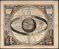 Andreas Cellarius's illustration of the Ptolemaic System (17th century), which shows the solar system and signs of the zodiac with the Earth at the center.J. van Loon, National Library of Australia