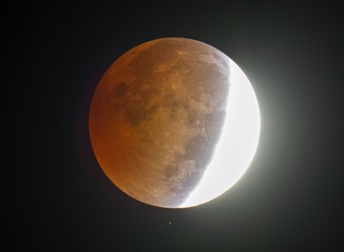 A star shines below the partially eclipsed moon Wednesday morning October 8, 2014 in this picture made through an 8-inch telescope at 6:06 a.m.