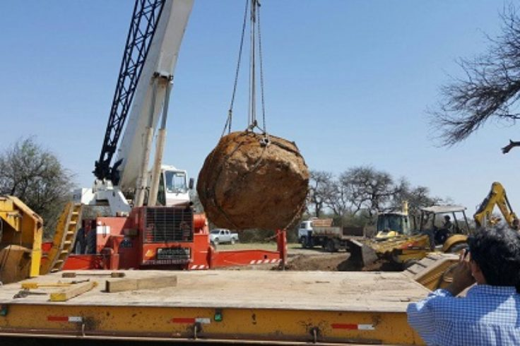 Gancedo meteorite after being unearthed in Argentina