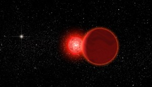 An artist's conception of Scholz's star. The Sun can be seen as a bright background star to the left. Michael Osadciw / University of Rochester.