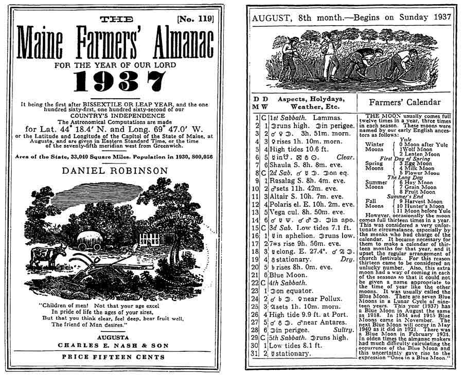 Maine Farmers' Almanac 1937