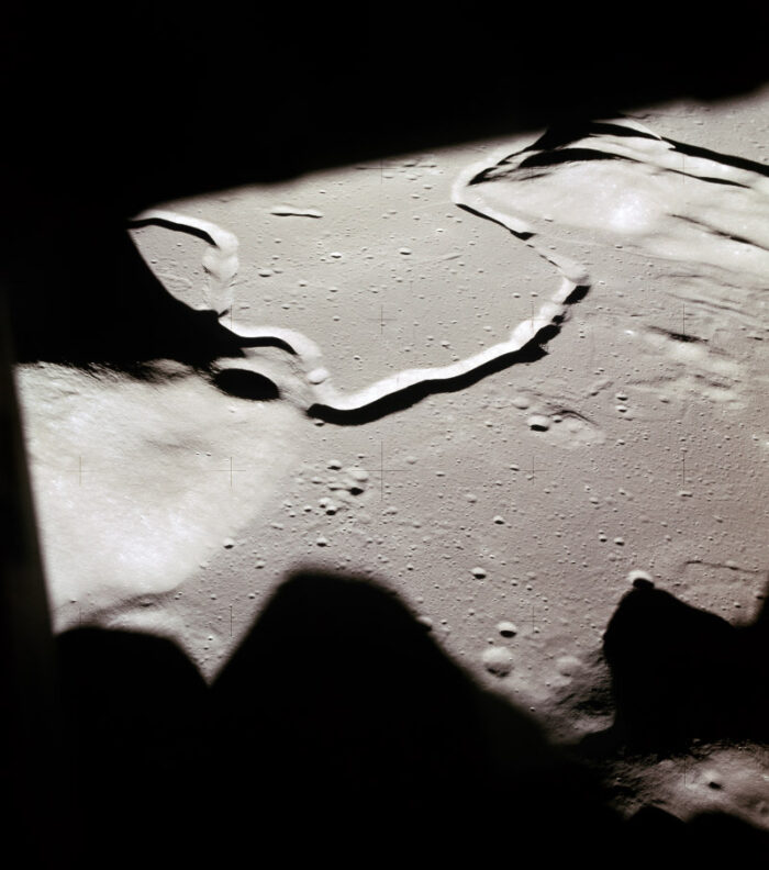 ridges on the lunar surface as seen from above from Apollo
