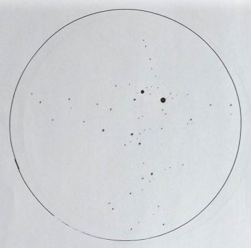 A sketch of the open cluster in Cassiopeia (NGC 457). D. Rennie