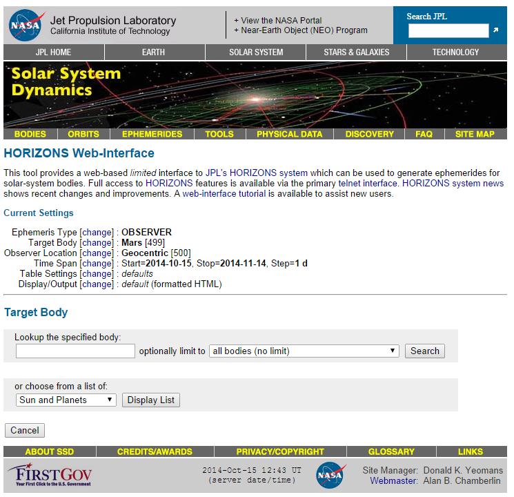 Figure 2. Target body field in NASA JPL Horizons Web-Interface.