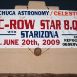The welcome sign at Huachuca Astronomy Club's C-Row Star B.Q. where the author announced the naming of asteroid 120349 Kalas in honor of John and Elizabeth (Liz) Kalas for their years of public outreach in astronomy.