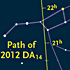 Path of asteroid 2012 DA14
