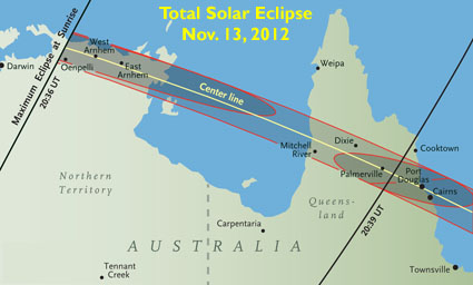 November's eclipse path across Australia