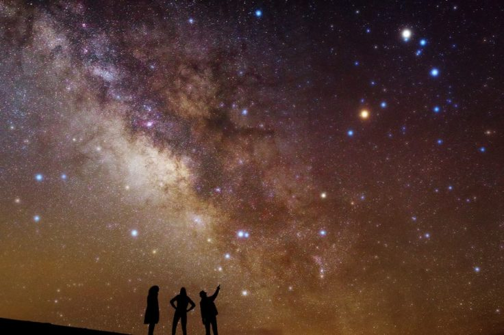 Three people looking at the Milky Way