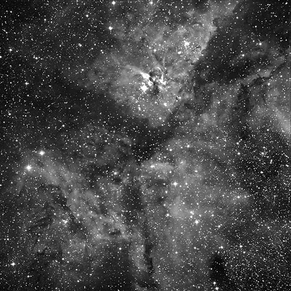 Eta Carina Nebula black-and-white - Sky & Telescope