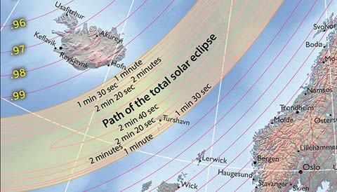 Path of 2015's total solar eclipse