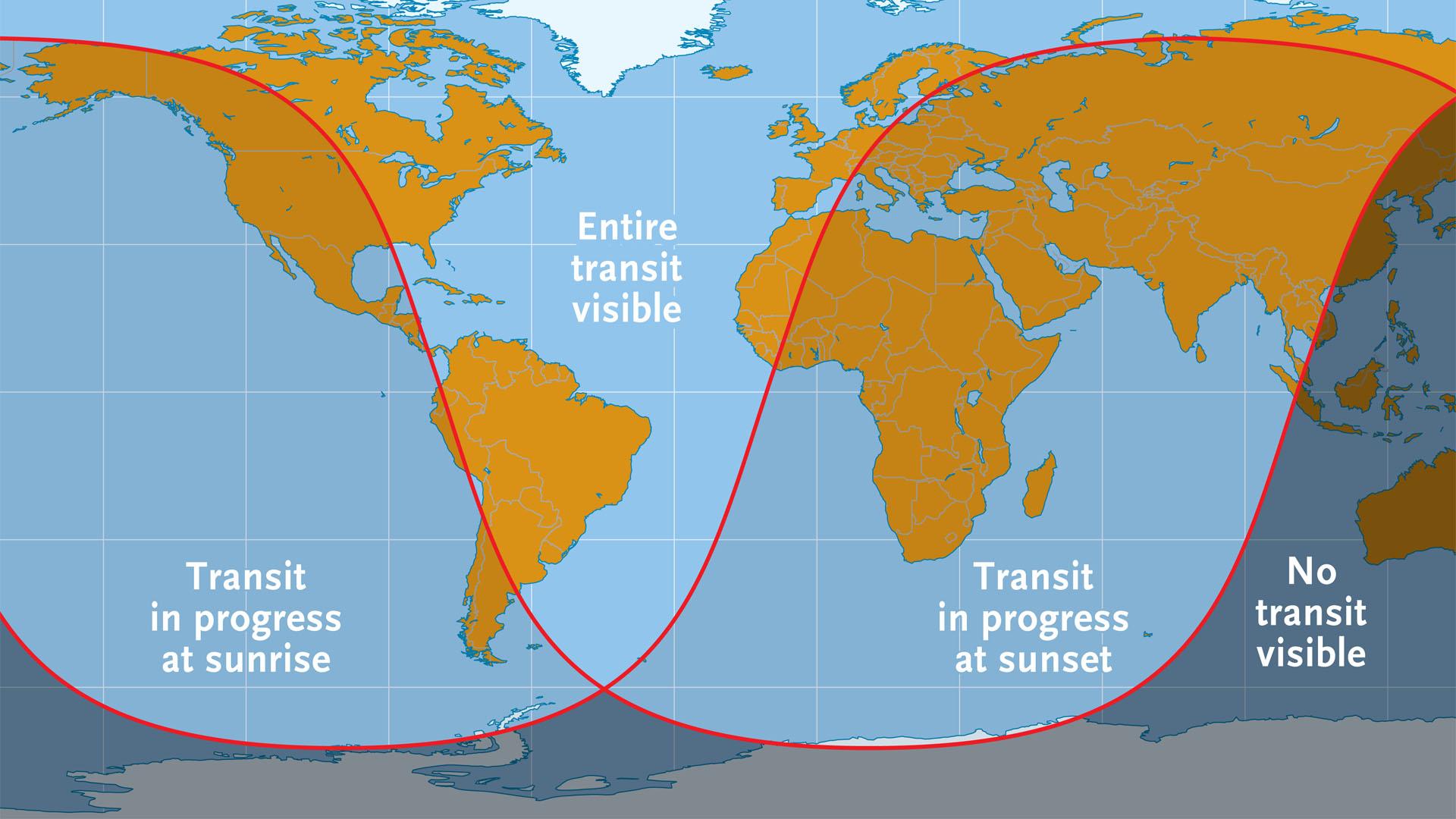 2016 Mercury transit visibility map