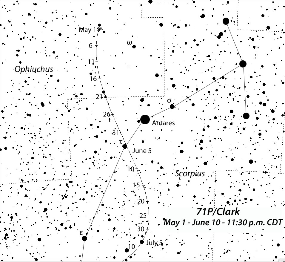 71P/Clark may brighten tomagnitude +10 in late spring as it winds through Ophiuchus and Scorpius.