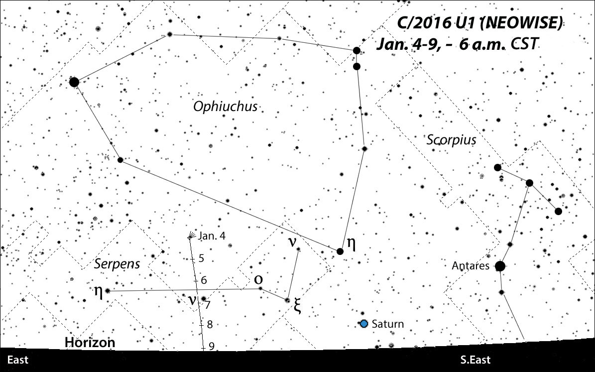 C/2016 U1 drops south rapidly in the coming days and soon disappears from view. You'll need a good eastern horizon to spot the comet as it crosses from Ophiuchus into Serpens. Positions plotted daily with stars to magnitude +8. This map and the other