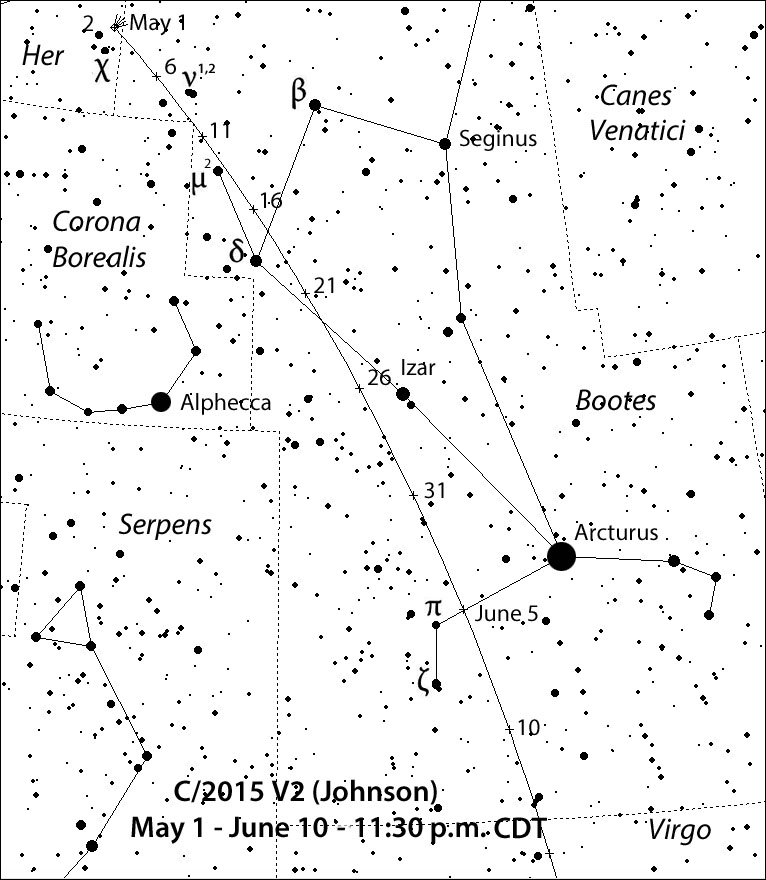 Comet Johnson (C/2015 V2) is currently well-placed in the morning sky for amateur observtion and is one visible comets 2017 events to watch.