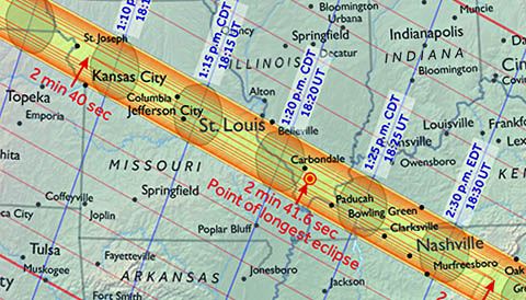 2017 eclipse path through Midwest