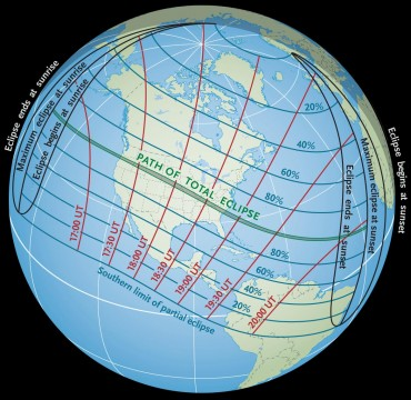Path of the Great American Eclipse, the total solar eclipse happening in August 2017!