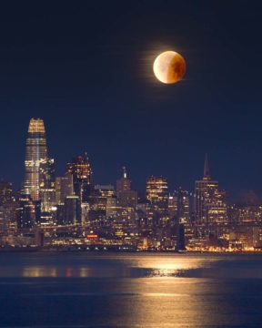Partial lunar eclipse over San Francisco