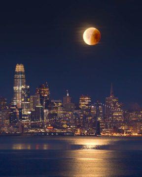 Partial lunar eclipse over San Francisco