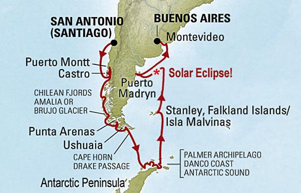 Route of <i>Sky & Telescope's</i> 2020 eclipse cruise