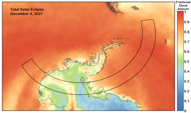 Predicted cloud cover for 2021's total solar eclipse