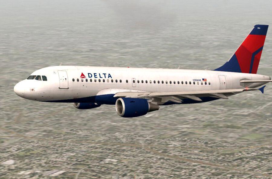 Delta A319-100 in flight