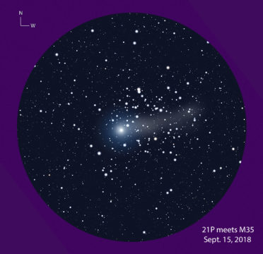 Cluster-comet conjunction