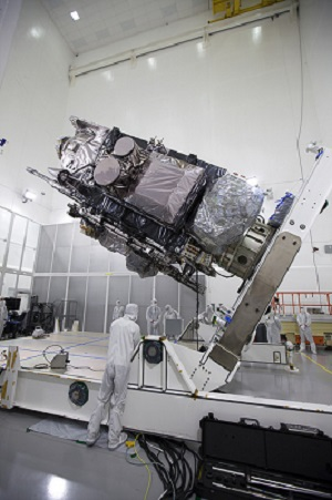 GOES-R is raised and prepared for lifting at the Astrotech facility in Titusville, Florida. NASA/Charles Babir.
