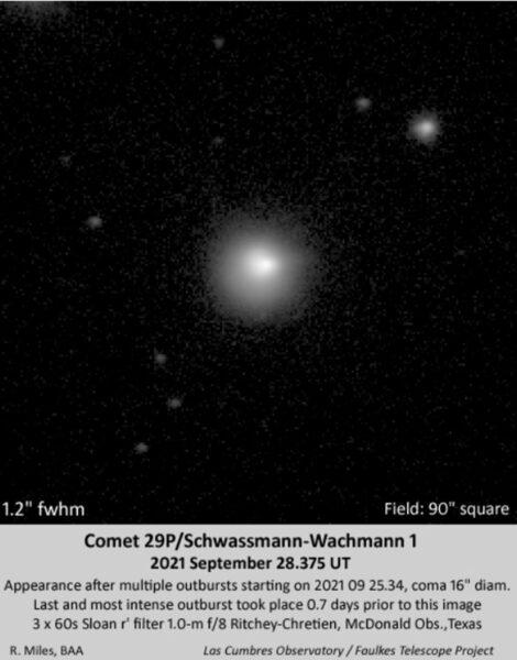 Comet 29P close-up on September 28, 2021