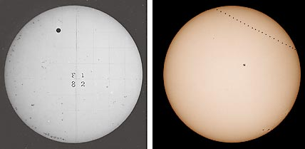 1882 transit of Venus (left); 2003 transit of Mercury (right)