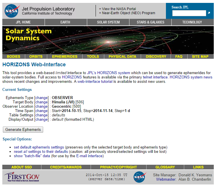 Figure 3. Populated Target Body screen for NASA JPL HORIZONS Web-Interface.