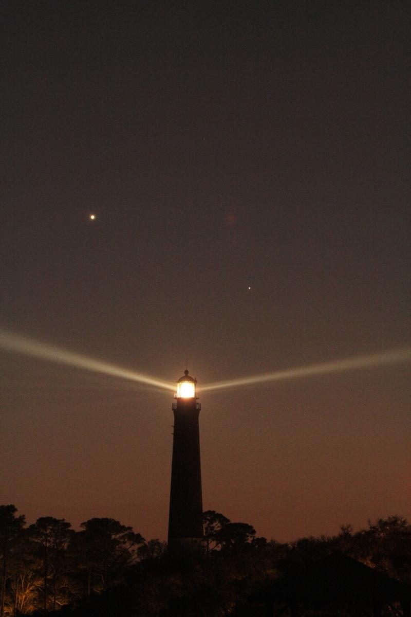 Venus and Mercury behind Lighthouse