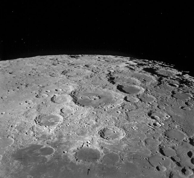 Image of craters on the lunar surface as seen from the command module