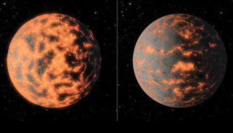 55 Cancri e, without and with volcanic plumes