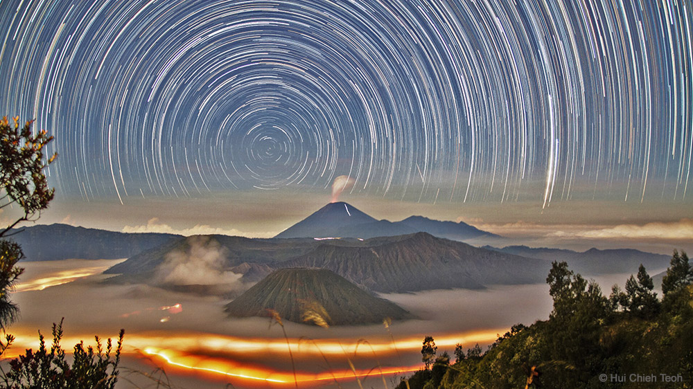 Star Trails Over Bromo by Hui Chieh Teoh