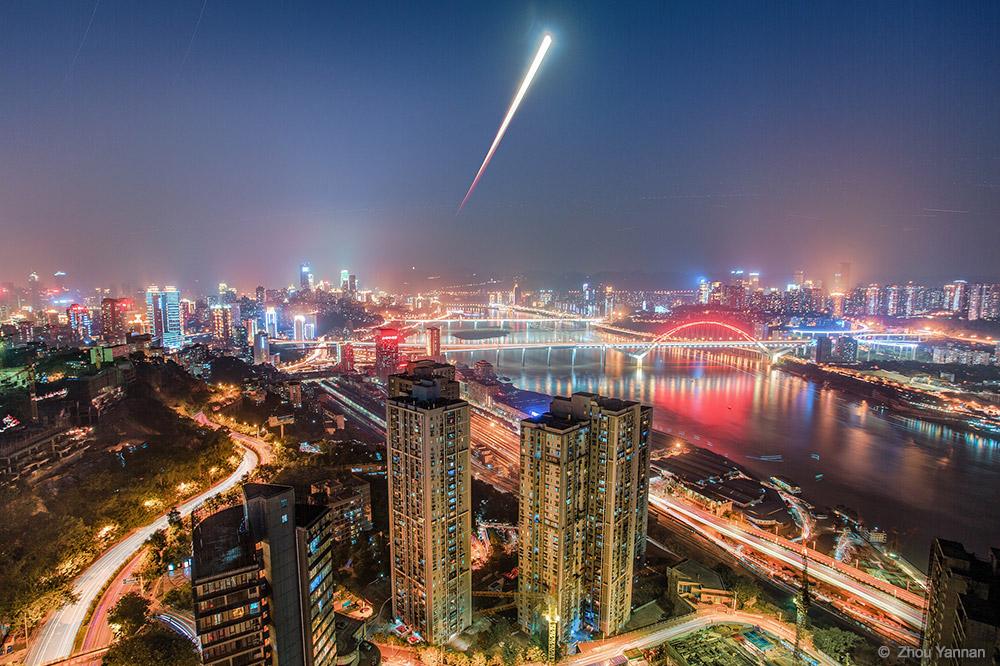 Blood Moon Rises Over Chongqing by Zhou Yannan