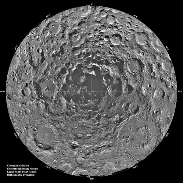 Lunar south pole by Clementine