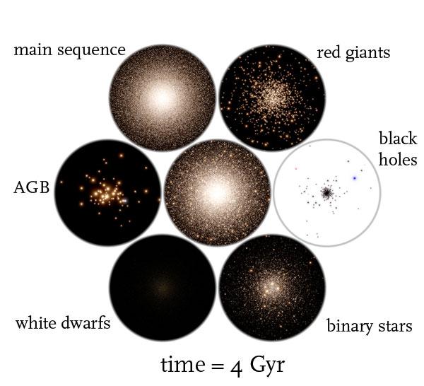 globular cluster simulation time = 4 Gyr