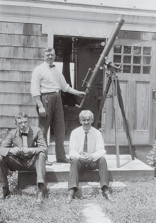 William Tyler Olcott, William Henry, and Leon Campbell (left to right) posed at the AAVSO's spring meeting in 1923, back in the days when no self-respecting observer would look through a telescope without donning a necktie.
