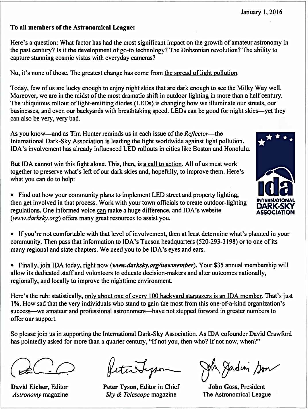 Joint letter on behalf of IDA