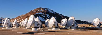 19 dishes of the ALMA radio array
