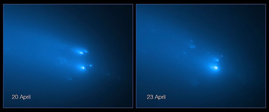Hubble's view of Comet ATLAS breaking apart