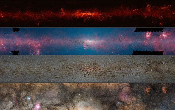 Mapping the galaxy one wavelength (or waveband) at a time: This image shows the Milky Way observed at submillimeter (first panel), infrared (second panel), near-infrared (third panel), and visible-light (fourth panel) wavelengths. (Find more information about this image in the press release.)ESO / ATLASGAL consortium / NASA / GLIMPSE consortium / VVV Survey / ESA / Planck / D. Minniti / S. Guisard Acknowledgement: I. Toledo, M. Kornmesser