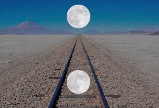 Ponzo Illusion: How we perceive the Moon's size has to do with how far away we think it is based on what's around it.