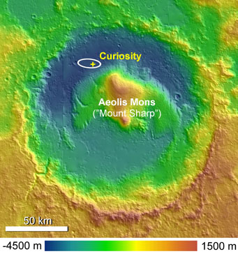 Tall peak inside Gale crater